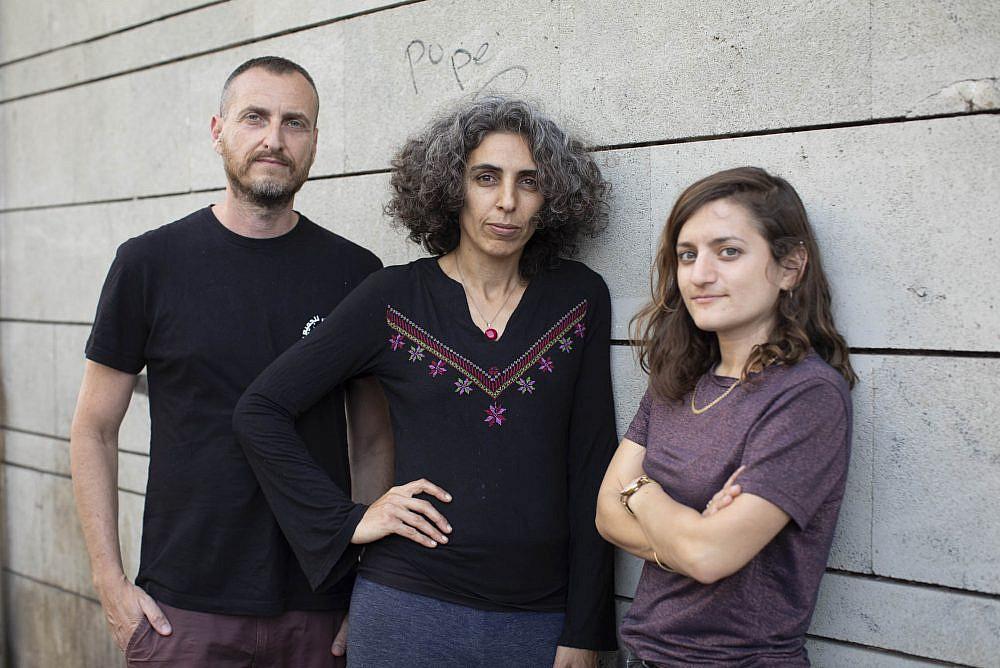 One Climate members Mor Gilboa (left), Muna Shaheen (center), and Ya'ara Peretz (right). (Oren Ziv)