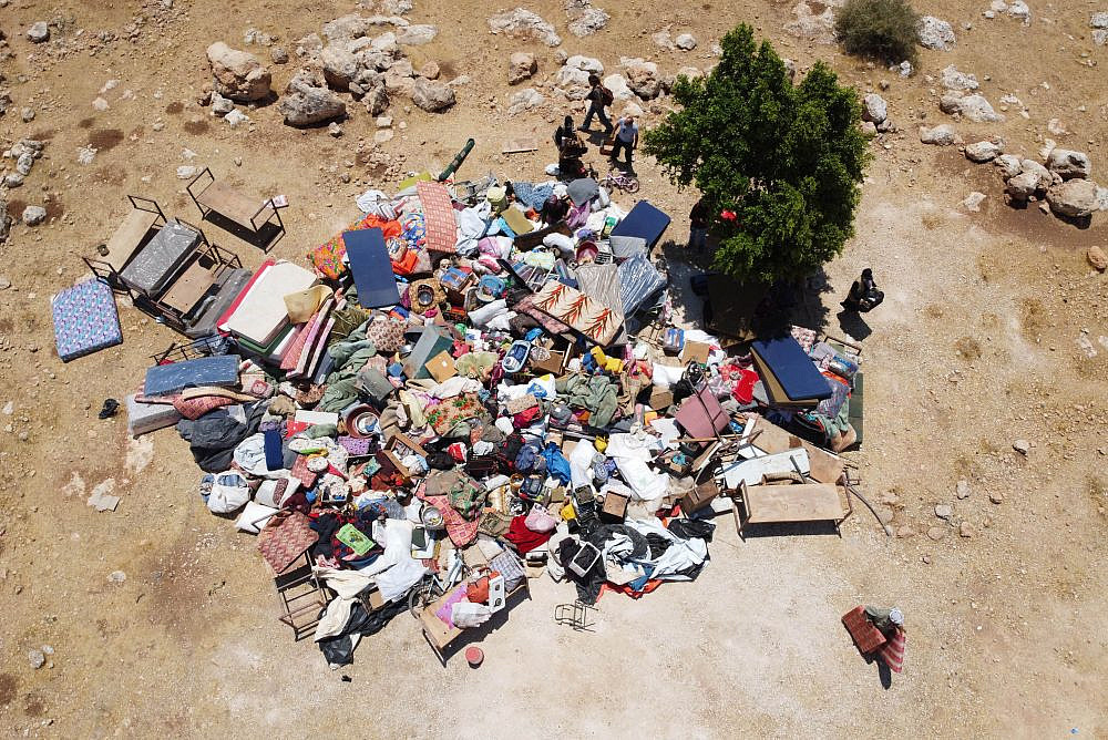 An aerial photo of the demolition of the Khirbet Humsa community in the Jordan Valley, occupied West Bank, July 8, 2021. (Oren Ziv)