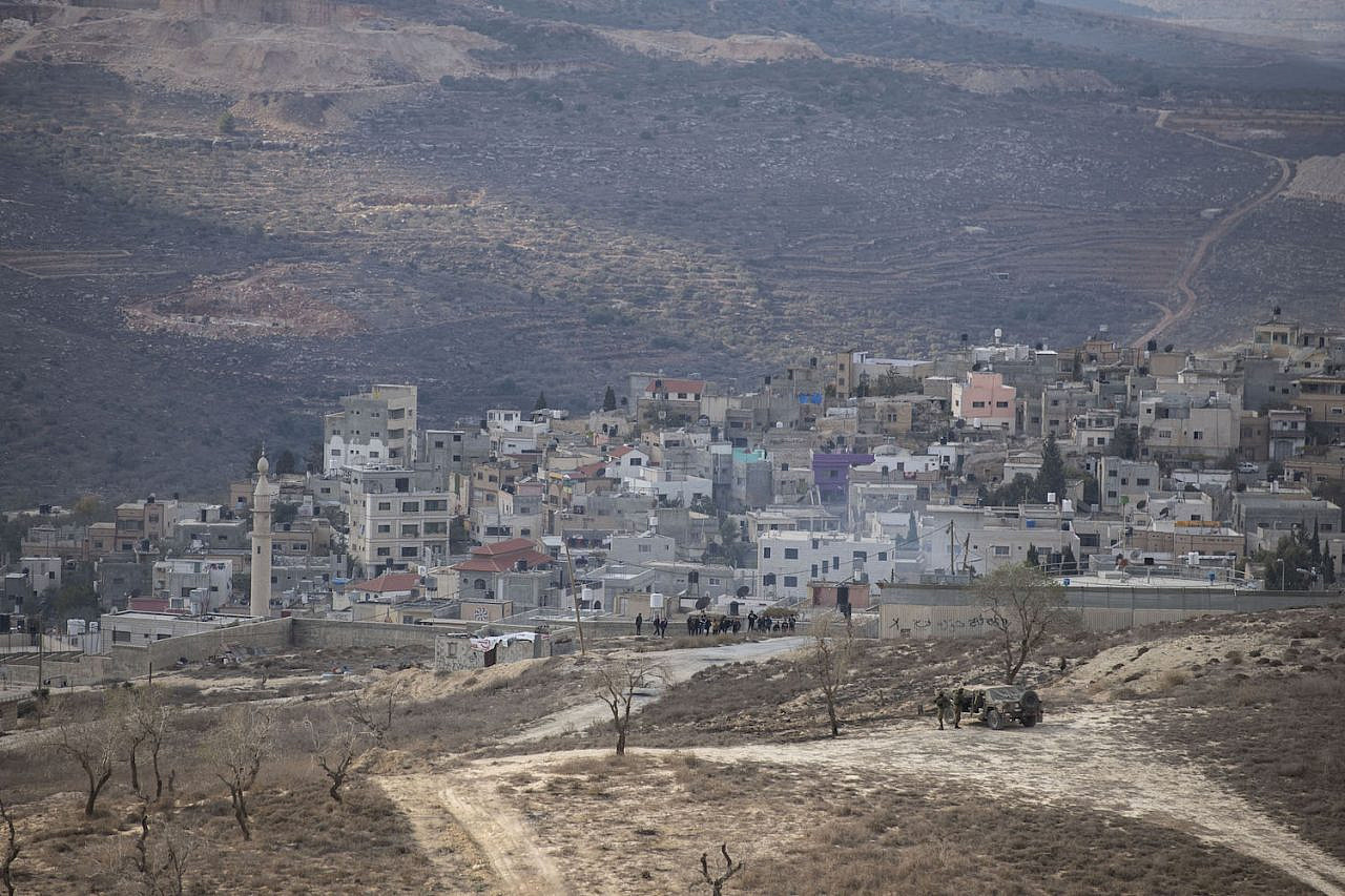 View of the Palestinian village of Urif, near the settlement of Yitzhar, in the West Bank, on December 1, 2019. (Sraya Diamant/Flash90)