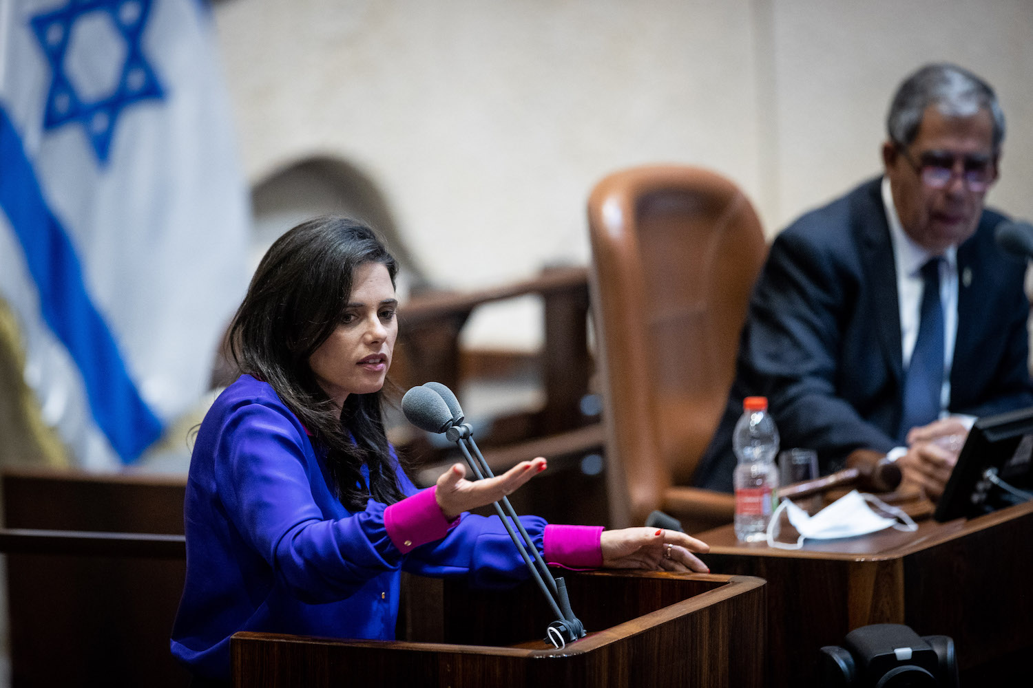 Ayelet Shaked addressed the Knesset during a discussion on the Citizenship Law, July 6, 2021. (Yonatan Sindel/Flash90)