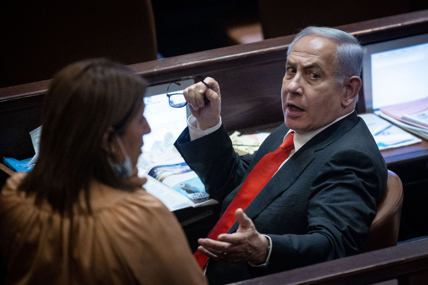 Opposition head Benjamin Netanyahu attends a discussion on the Citizenship Law, during a plenum session in the Knesset, Jerusalem, July 6, 2021. (Yonatan Sindel/Flash90)
