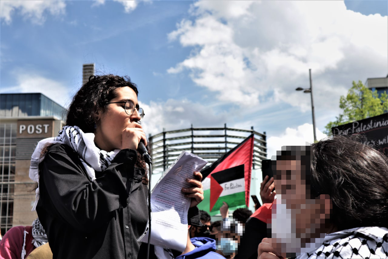 JID activist Yuval Gal Cohen delivers a speech during a pro-Palestinian rally in Leipzig, Germany, May 15, 2021. (Courtesy of Samara)