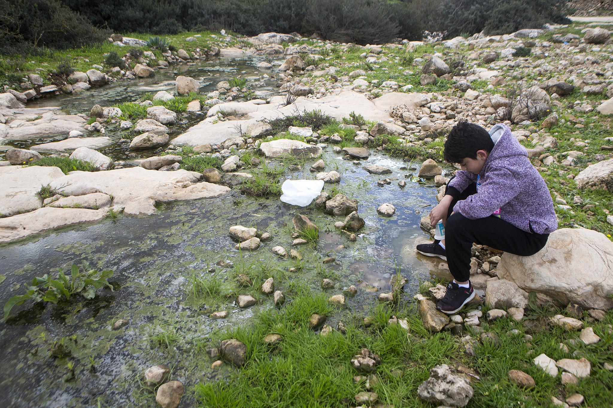 Palestinians enjoy their time in Wadi Qana valley area, near Deir Istiya, West Bank, February 8, 2019. (Anne Paq/Activestills.org)