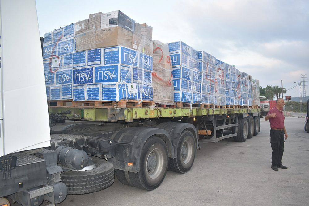 One of the five trucks carrying aid to Gaza, organized by Palestinian and Jewish citizens of Israel. (Jeremy Milgrom)