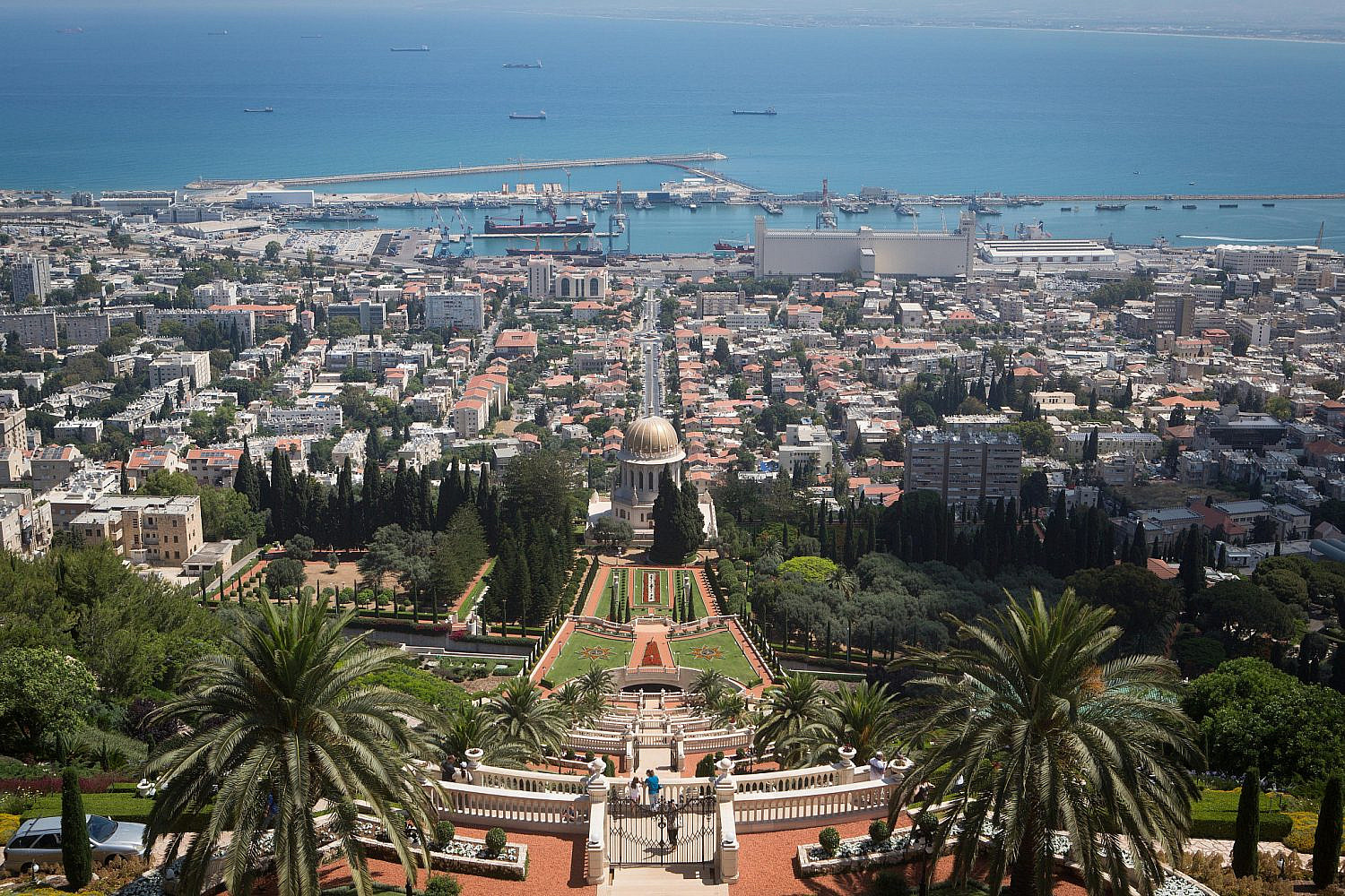 View of the Bahai gardens, located on Mount Carmel, in the northern Israeli city of Haifa. June 11, 2015. (Miriam Alster/Flash90)