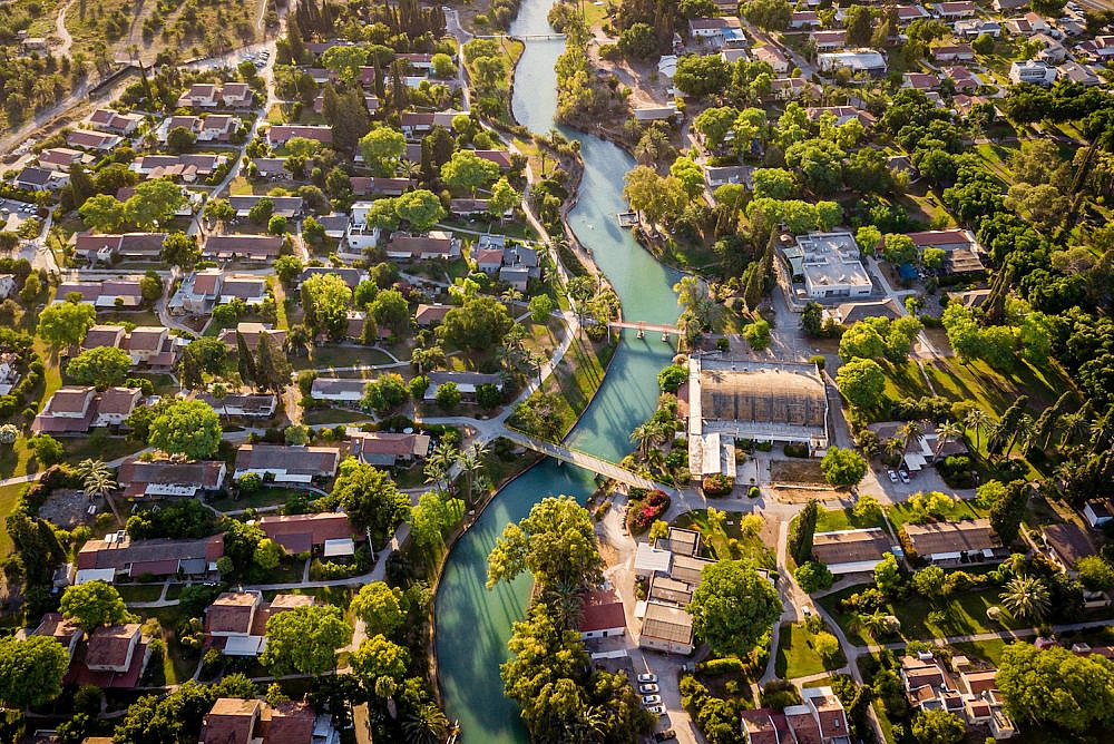 An aerial view of the Asi River in Kibbutz Nir David, August 9, 2020. (Menachem Lederman/Flash90)