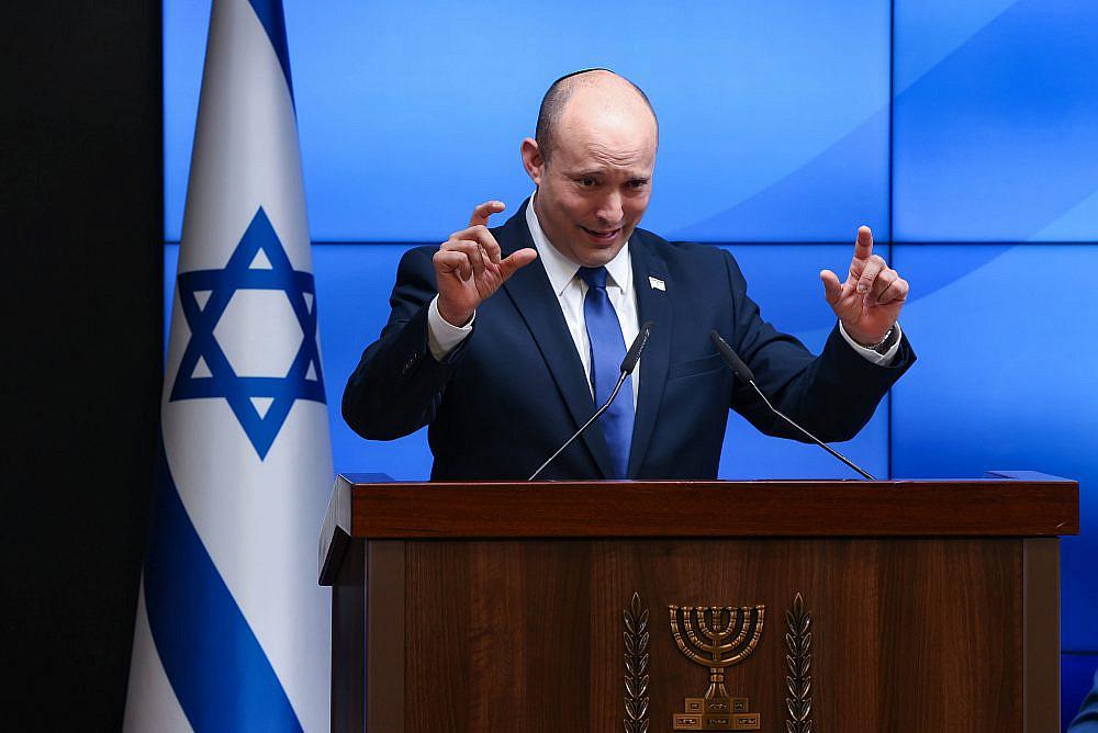 Israeli Prime Minister Naftali Bennett at a press conference in Jerusalem, July 6, 2021. (Amit Shabi/POOL)