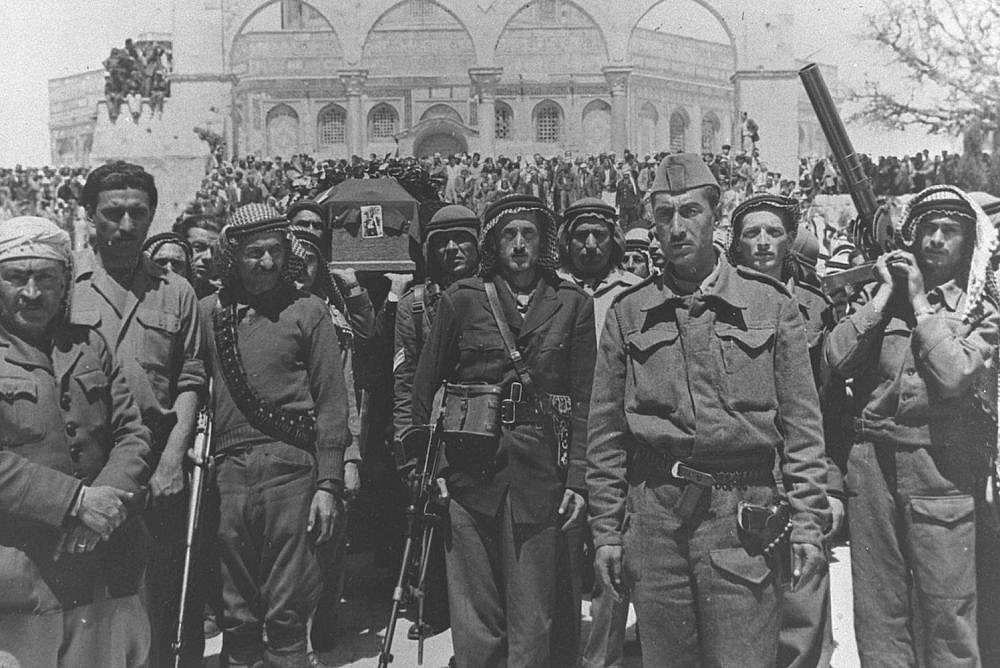 Hundreds of members of the Arab Liberation Army attend the funeral of Abd al-Qadir al-Husayni at the Dome of the Rock, Jerusalem, April 8, 1948. (GPO)