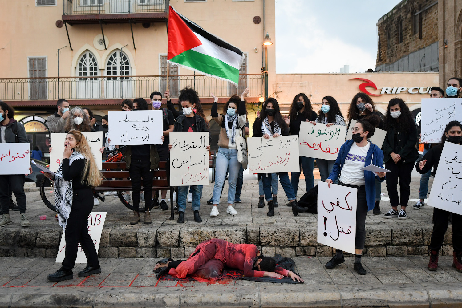 Palestinian citizens in Jaffa protest violent crime in the so-called mixed cities, February 6, 2021. (Avshalom Sassoni/Flash90)