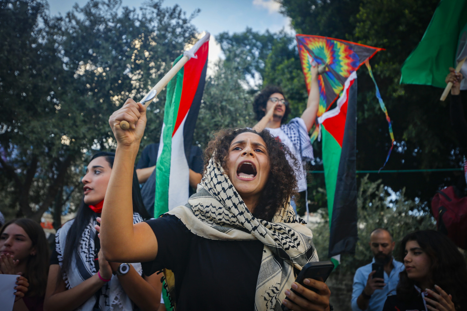 Palestinian citizens attends a rally in support to the six Palestinian prisoners who escaped from Gilboa Prison, Nazareth, September 11, 2021. (Jamal Awad/Flash90)