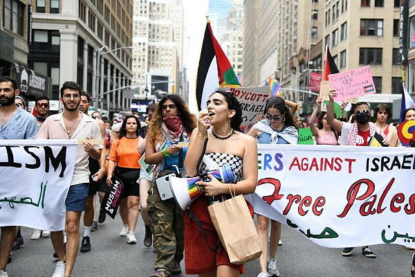 Palestinian-led contingent in the New York Pride Parade, June 27, 2021. (Gili Getz)