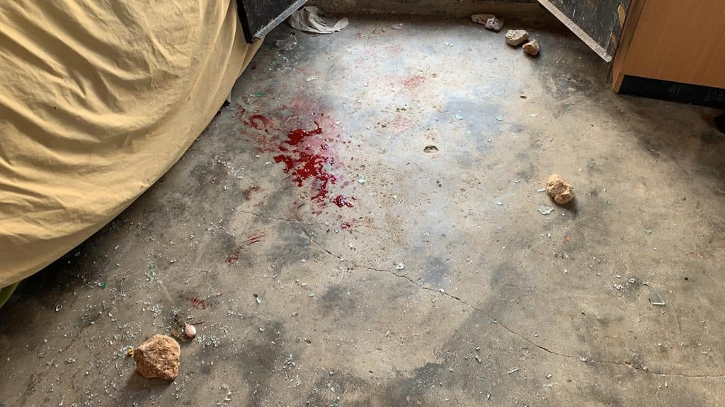 Blood stains on the floor of a home in the Palestinian village of Mufghara in the South Hebron Hills after 60 masked settlers attacked people, homes, and cars, September 28, 2021. (Alliance for Human Rights)