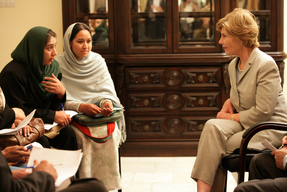 Mrs. Laura Bush speaks with faculty and students from Afghan universities and international schools, Sunday, June 8, 2008, during an unannounced visit to Kabul. (Shealah Craighead/Courtesy of the George W. Bush Presidential Library and Museum)