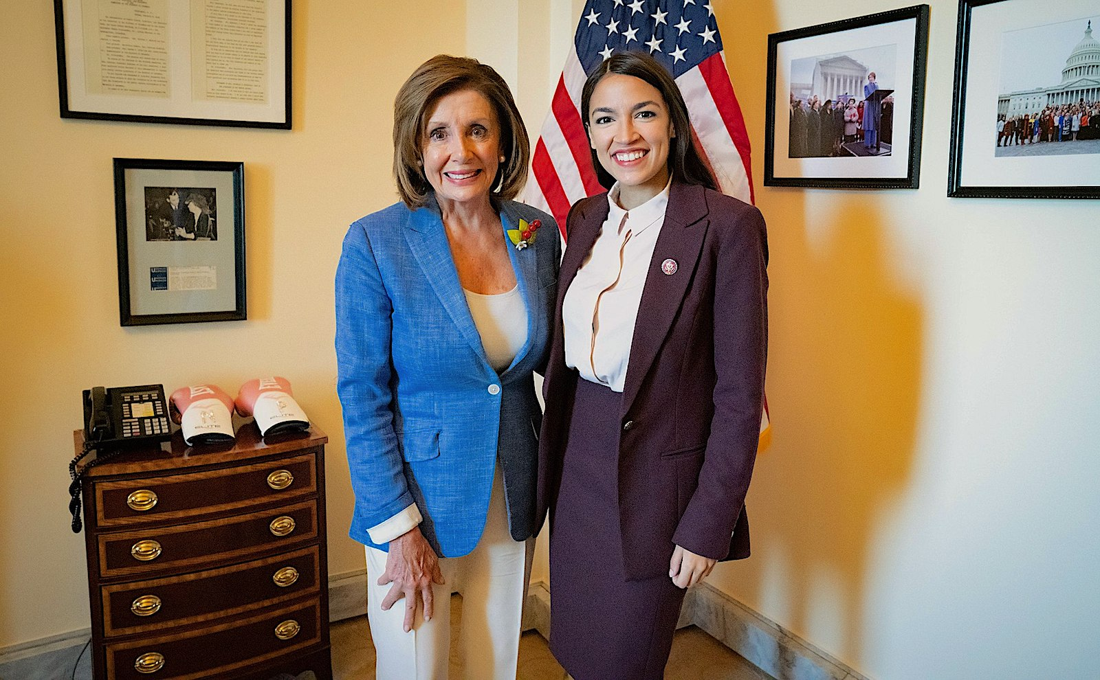 House Speaker Nancy Pelosi (left) meets with Alexandria Ocasio-Cortez in her office, July 26, 2019. (Courtesy of the Office of Nancy Pelosi)