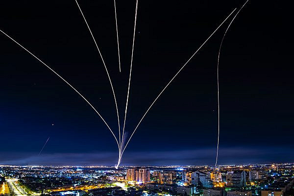 Israel's Iron Dome anti-missile system intercepts rockets fired from the Gaza Strip over the southern Israeli city of Ashdod, May 16, 2021. (Avi Roccah/Flash90)