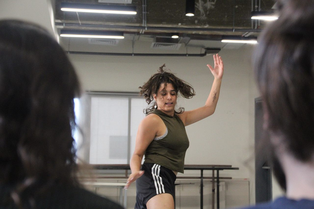 Nur Garabli rehearsing for her show at a studio in Kibbutzim College of Education, Technology and the Arts, Tel Aviv, September 9, 2021. (Natalie Alz)